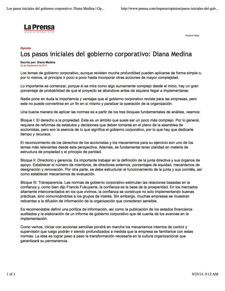 Los pasos iniciales del gobierno corporativo: Diana Medina | Opinión-Impreso | La Prensa Panamá