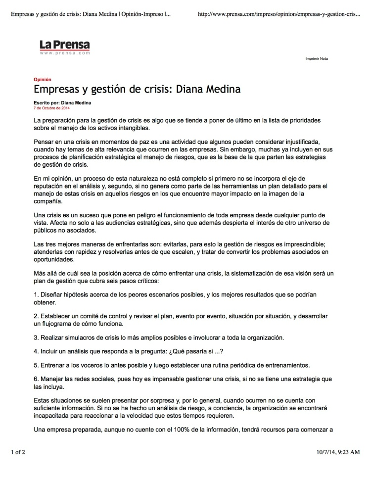 Empresas y gestión de crisis: Diana Medina | Opinión-Impreso | La Prensa Panamá