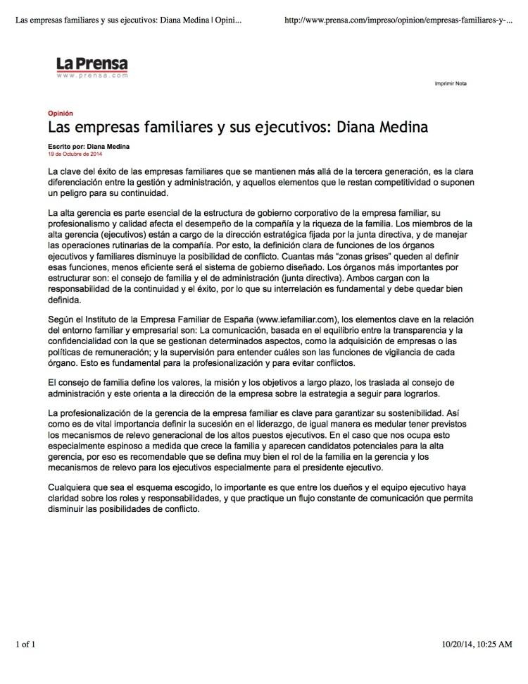 Las empresas familiares y sus ejecutivos: Diana Medina | Opinión-Impreso | La Prensa Panamá